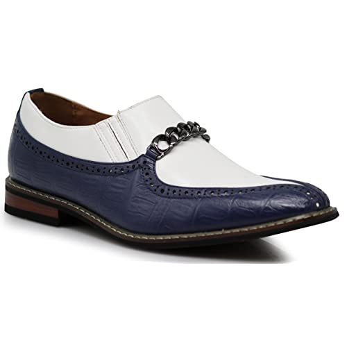 12c02f59f4d6 CRD3 Men s Two Tone Spade Heart Toe Chain Buckle Slip On Loafers Oxfords  Perforated Dress Shoes