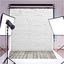 CXJ 5x6.5 Feet White Brick Wall Photo Backdrop Suede Cloth Fabric Customized Seamless Wedding Wood Floor Backgrounds for Photography Studio WY00029