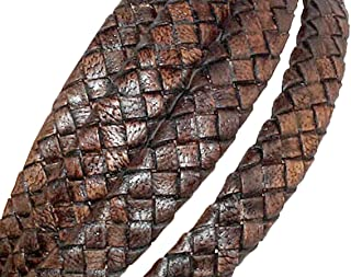 cords craft 10x4mm Flat Braided Genuine Leather Cord, Dark Brown Vintage, Piece of 1 Meter for Making Bracelet & Jewelry