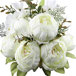 LeagelFake Flowers Vintage Artificial Peony Silk Flowers Bouquet Wedding Home Decoration, Pack of 1 (White)