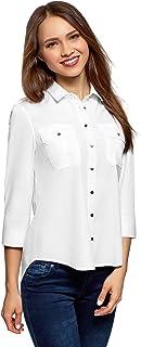 comprar comparacion oodji Ultra Mujer Camisa con Hombreras y Bolsillos en el Pecho