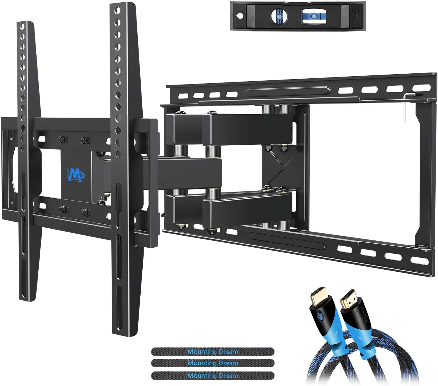 "Mounting Dream TV Mount Full Motion TV Wall Mounts for 26-55 inch, Some up to 60 inch LED, LCD Flat Screen TV, Wall Mount Bracket up to VESA 400 x 400mm 99 lbs. Fits 16"", 18"", 24"" Wood Studs MD2380-24"