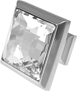 """Satin Nickel Cabinet Hardware Square Knob 8 Pack T148VF with Clear Glass - 1-1/4"""" Square. Romantic Decor & More"""
