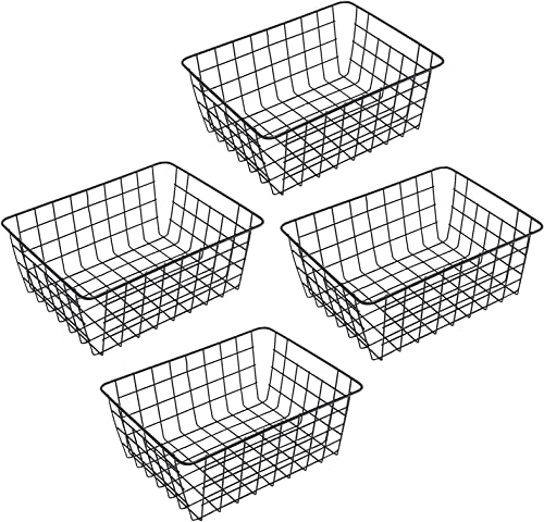 "wholesale Wire Storage Basket 4 Pack Metal Organizer for lowest Farmhouse Bathroom, Laundry, Pantry [11.18 x 14 x outlet sale 5.63""] Black online"
