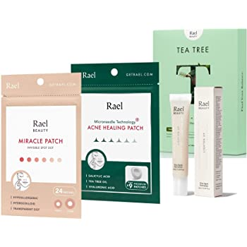 Rael Acne Pimple Healing Patch (24 Count), Microneedle Acne Healing Patch (9 Count), Cica Spot Corrector Cream (0.68oz, 28ml), Bamboo Face Sheet Mask (Tea Tree, 5 Count) Bundle
