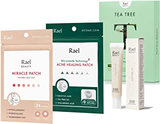 Rael Acne Pimple Healing Patch (24 Count), Microneedle Acne Healing Patch (9 Count), Cica Spot Corrector Cream (0.68oz, 28...
