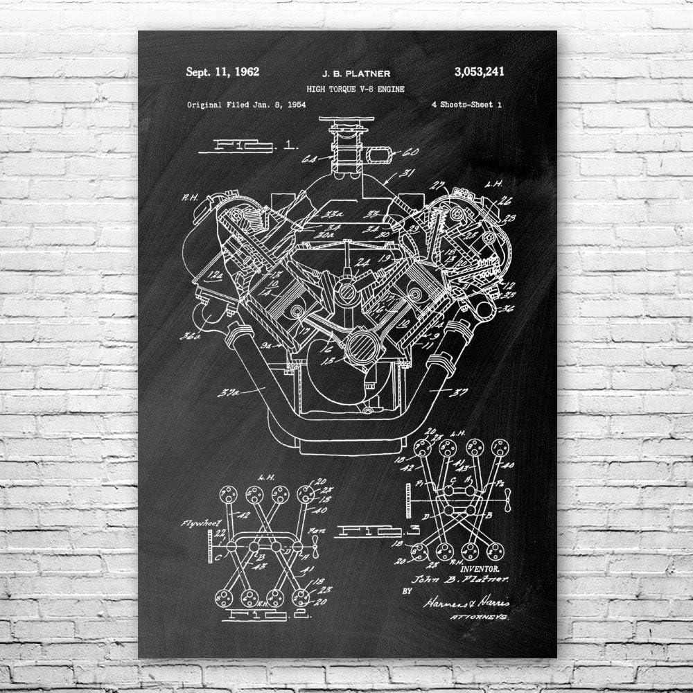 Patent Earth Hemi V8 Engine Poster Muscle 再入荷/予約販売! Print C Gen 日本正規品 1st