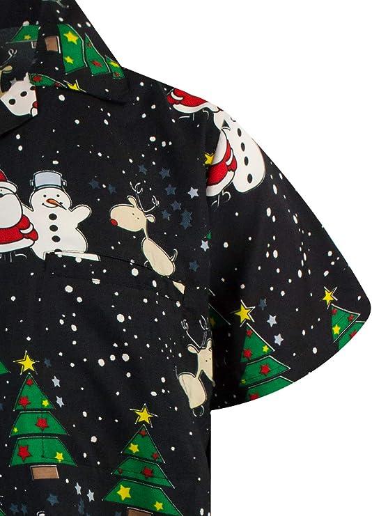 King Kameha Original Camisa Hawaiana   Caballeros   XS-6XL   Manga Corta   Bolsillo Delantero   Estampado Hawaiano   Noel Navidad