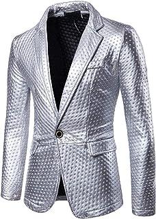 HX fashion Slim Fit Casual Mens Blazer Blazer Wedding Party Mens Comfortable Sizes Single Breasted Blazers Silver Gold Bla...