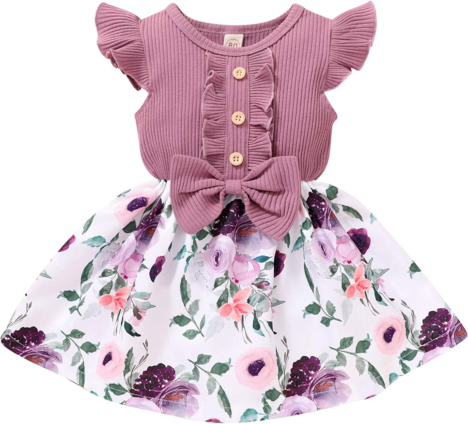 Toddler Manufacturer direct delivery Baby Girl Clothes Summer Top Bow Sleeveless Dress Ruffle Sale special price