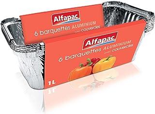 ALFAPAC - 6 barquettes aluminium 1L Profondes avec couvercle