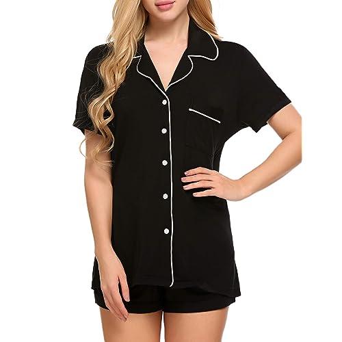 ae3bd7f3e5 Ekouaer Pajamas Women s Short Sleeve Sleepwear Soft Pj Set XS-XXL