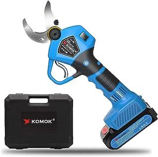 KOMOK Professional Cordless Pruner Electric Pruning Shears Tree Pruner with LED Display, 30mm (1.2 Inch) Cutting Diameter,...