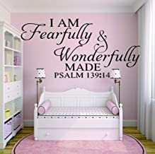 Wall Decal Sale : I Am Fearfully & Wonderfully Made. Psalm 139;14 Bible Quote KJV Inspirational Life Size: 16 Inches X 20 Inches - 22 Colors Available