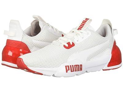 Puma Kids Cell Phase (Big Kid) (PUMA White/High-Risk Red) Boys Shoes