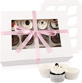 Moretoes Cupcake Boxes 8 Packs, White Cupcake Carrier Bakery Boxes with Windows and Inserts to Fit 12 Cupcakes Muffins or ...