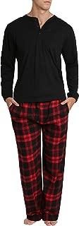 Top Shelf Men's Flannel Pajama Pants Set - Long Sleeve Henley Sleep Shirt & PJ Bottoms