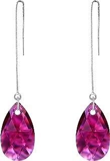 Plata de Ley 925 Simple Lágrima Drop Diario Ear Threader Colgante Pendientes Adornado Cristales