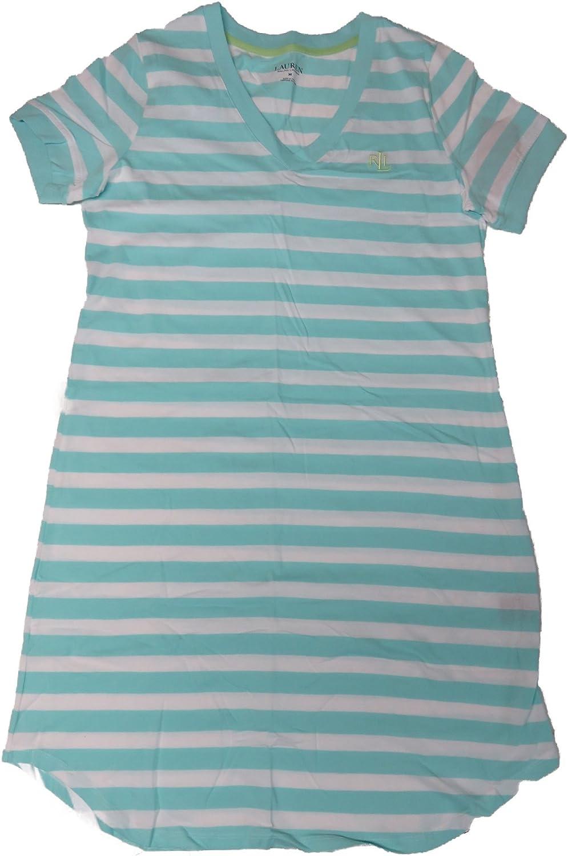 Ralph Lauren Womens Nightgown Aqua Striped, Medium