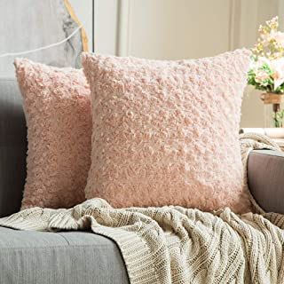 MIULEE Pack of 2 Decorative Throw Pillow Covers Luxury Faux Fuzzy Fur Super Soft Cushion Pillow Case Decor Peach Pink Cases for Couch Sofa Bedroom 18 x 18 Inch 45 x 45 cm