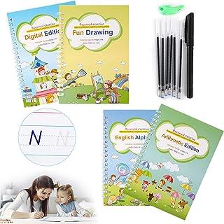Fship Magic Practice Copybook for Kids, Reusable Writing Practice Book Set, Calligraphy English Print Hand Writing Workbook