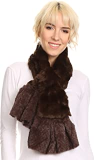 Sakkas Nadia Long Thin Soft Warm Comfort Faux Fur Scarf With Flare Ruffle Ends
