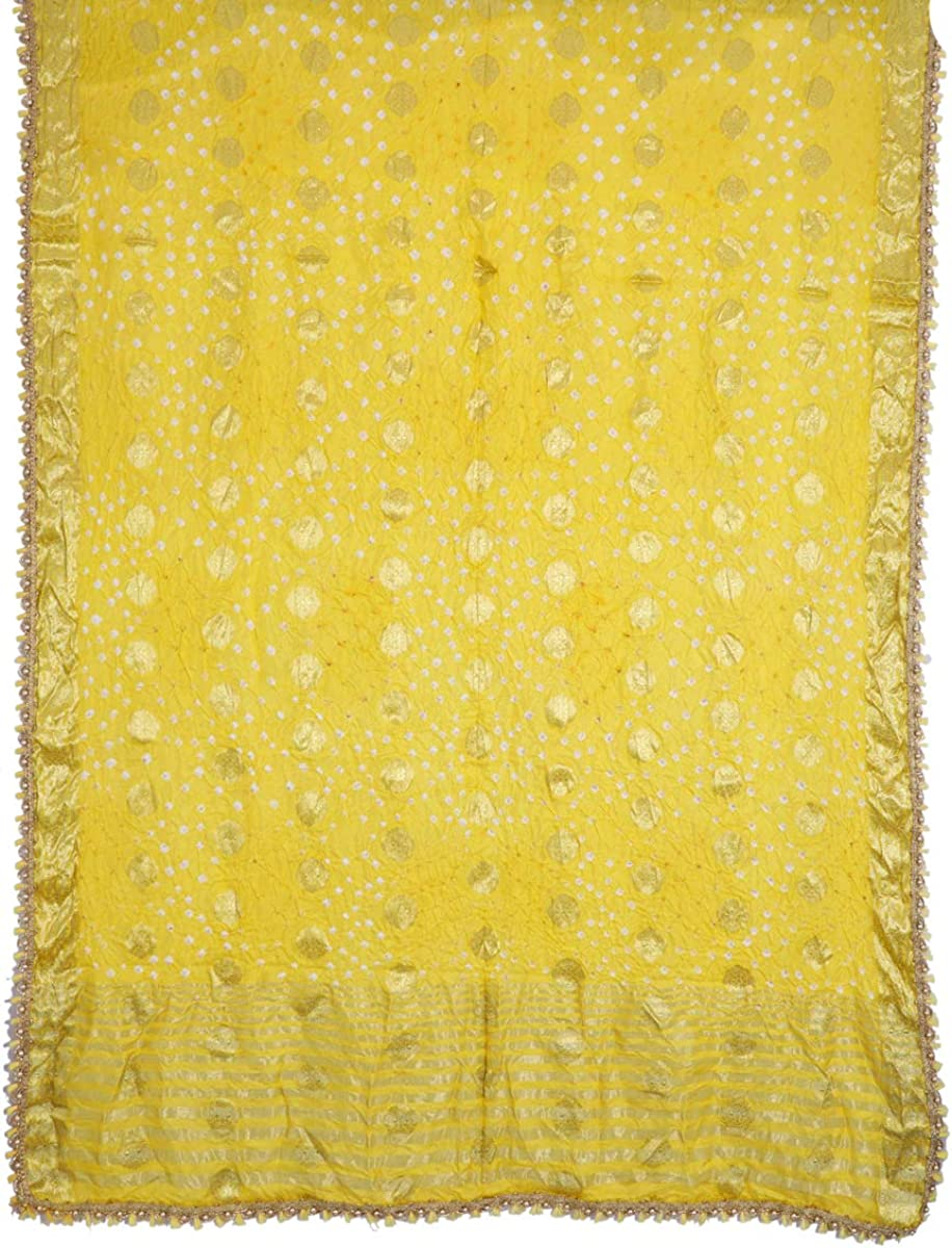 Indian Handicraft Palace Woman/Girl Handmade Banarasi Bandhani Silk Yellow-Color Handmade Zari Dupatta Hizab Stole Hizab Veil