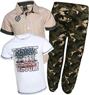 Quad Seven Little Boy's 3-Piece Pant Set with Woven Shirt and Tee