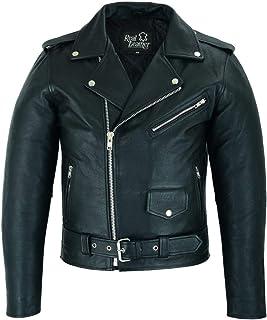 Mens Real Leather Brando Motorcycle Jacket Motorbike Marlon Biker Perfecto Black (6XL)