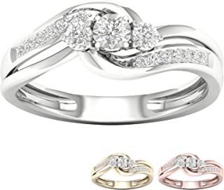 10k Gold 1/5 Ct TDW IGI Certified Bypass Round Diamond Engagement Ring For Women