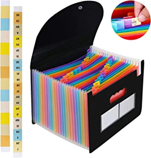 24 Pockets Expanding Files Folders,Expandable Accordian File Organizer,Portable Large Plastic Rainbow Accordion Filing Box Wallets Standing Document Bag with Colored Labels for Office/Business/School