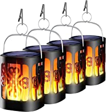 Ollivage Solar Lantern Lights Dancing Flame Waterproof Outdoor Hanging Lantern Solar Powered Flame Landscape Lights for Ga...