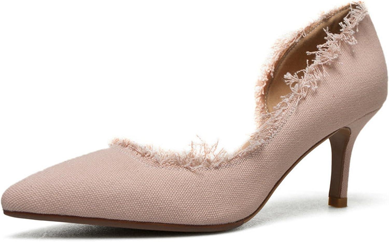 Rmesor 2018 Women Pumps Hemp Fashion Pointed Toe Women shoes Platform Slip on Thin high Heel All Match Ladies Pumps Size 34-39