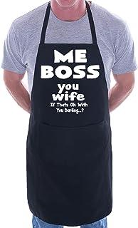 Print4U Me boss you esposa para barbacoa–Delantal, diseño de