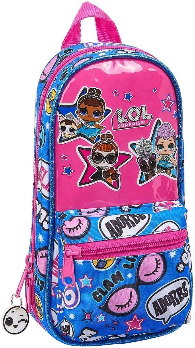 LOL Surprise 412020747 Plumier mochila 4 estuches llenos, 33 piezas, escolar, Fucsia/Azul