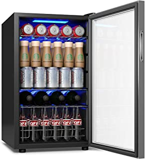 COSTWAY Beverage Refrigerator and Cooler, 76 Can Mini Fridge with Glass Door for Soda Beer or Wine Small Drink Dispenser Machine for Office or Bar (17