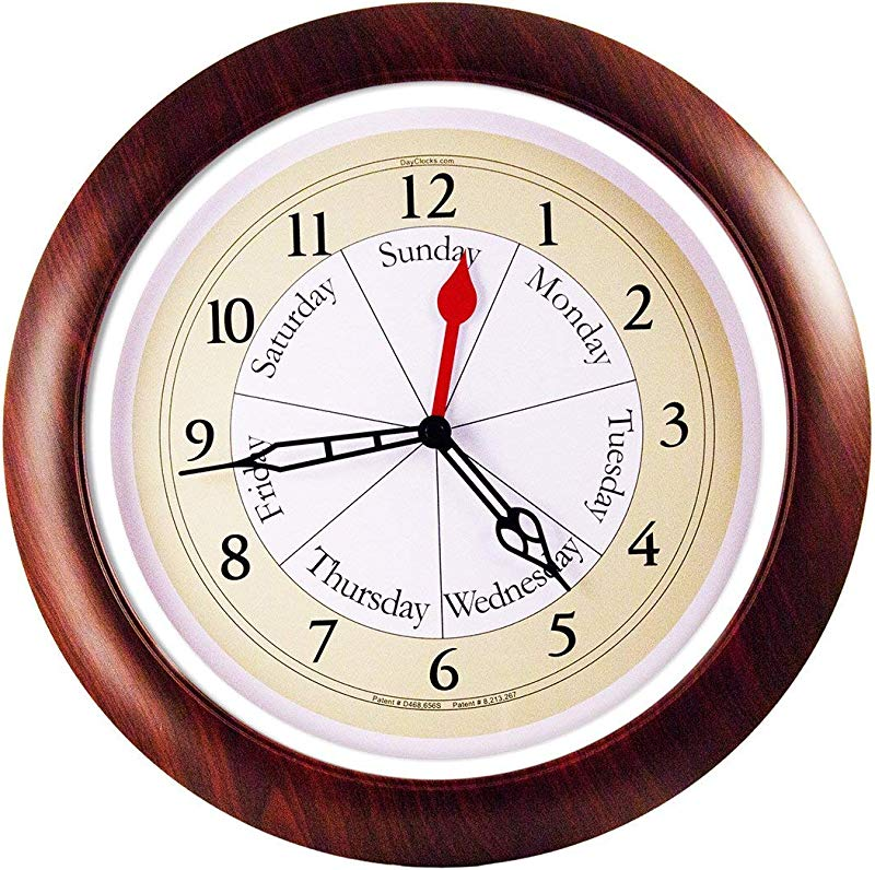 DayClocks Combination Analog Wall Clock Time Of Day And Day Of The Week Wall Clock Unique Kitchen Wall Clock Walnut Accent Frame