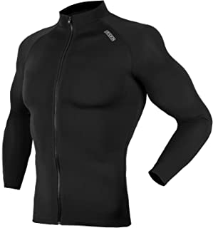 DRSKIN Zip UP UV Sun Protection Long Sleeve Top Shirts Skins Tee Rash Guard Compression Base Layer UPF 50+