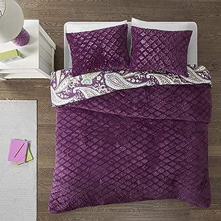 Intelligent Design Melissa Ultra Soft Paisley Print Quilted Faux Fur Reversible Comforter Set, Full/Queen, Purple
