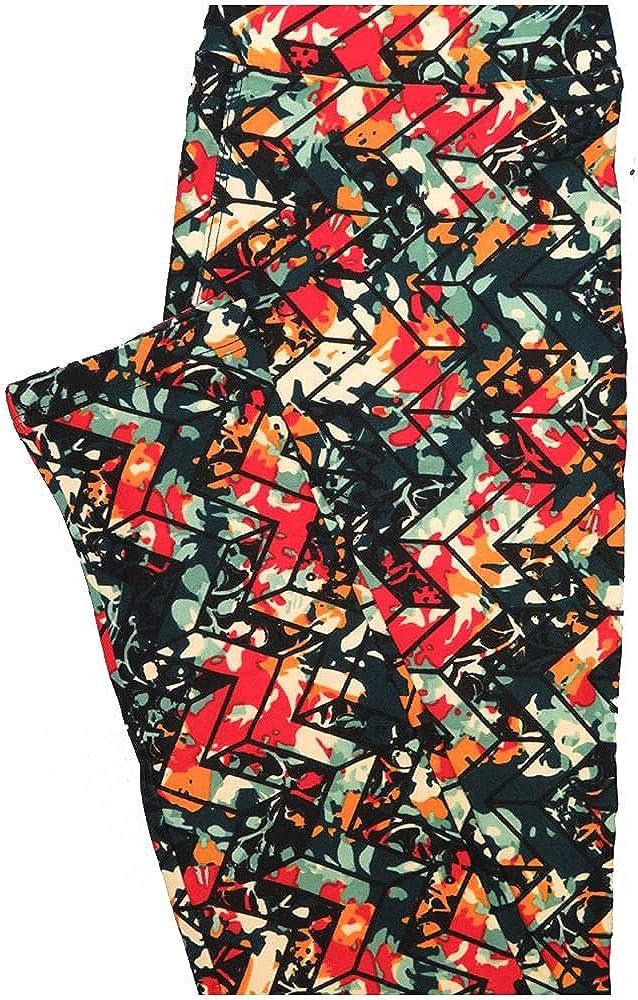 Lularoe One Size OS Zig Zag Dark Green Light Green Coral Orange Stripe Buttery Soft Leggings - OS fits Adults 2-10