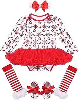 Freebily, Ropa Navidad Bebé Recién Nacidos Traje de Santa Invierno Disfraz Navideño Año Nuevo Conjunto Bebé Algodón Tutú Vestido Princesa Zapatos Calcetines Rayados
