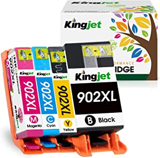 Kingjet Ink Replacements for 902 902XL Ink cartridges Work with OfficeJet Pro 6954 6960 6962 6968 6975 6978 Printers, 1 Set