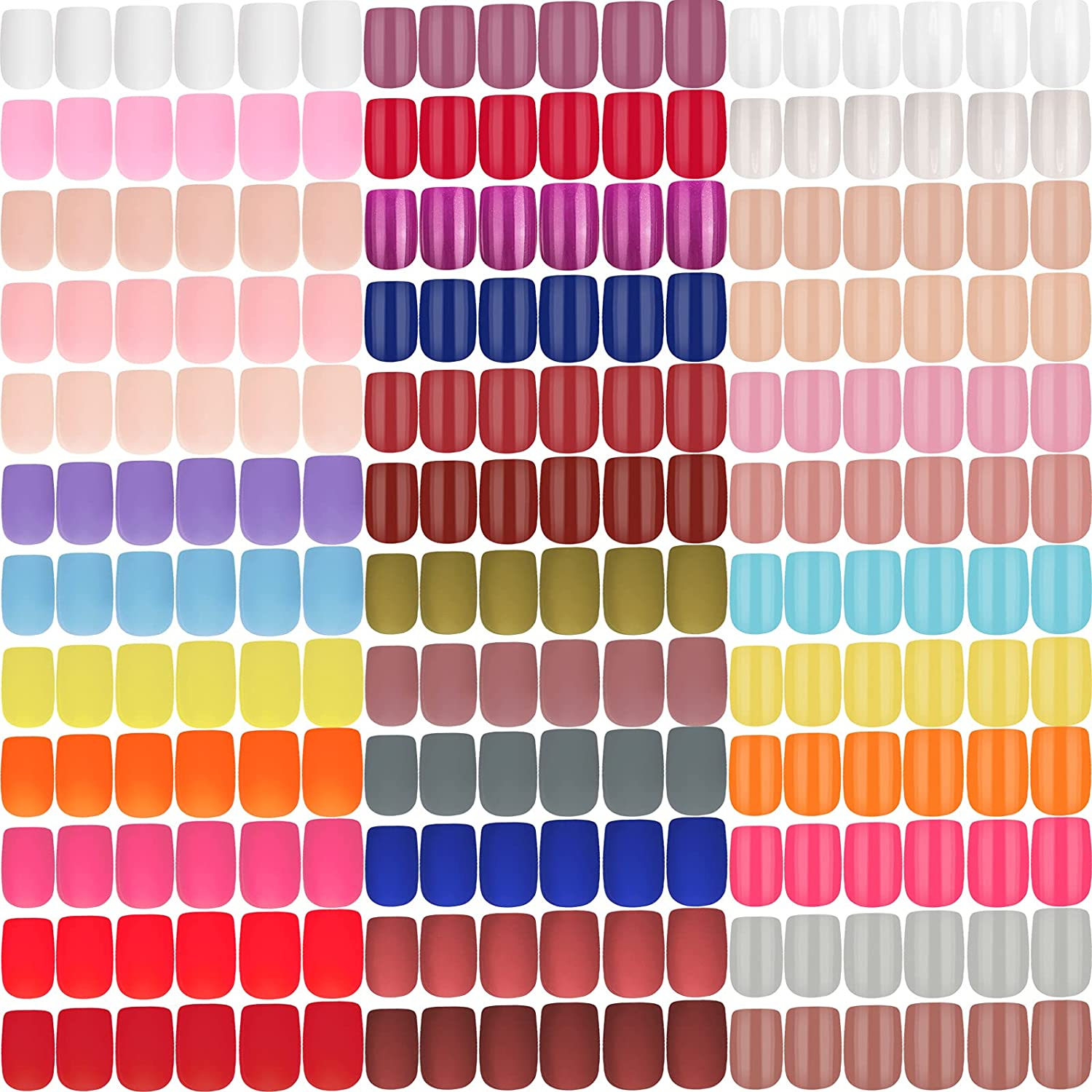 Year-end annual account 864 Pieces 36 Sets New products, world's highest quality popular! Medium Square Gloss Press on Nails Squ