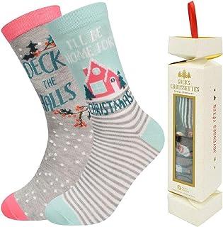 2 pares Unisex Calcetines Navidad Divertido Calcetines Tobillo Mujer Hombre Regalo de Navidad Práctico