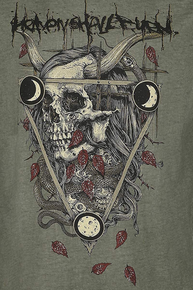 Heaven Shall Burn Leaves Triangle M/änner T-Shirt Khaki Band-Merch Bands