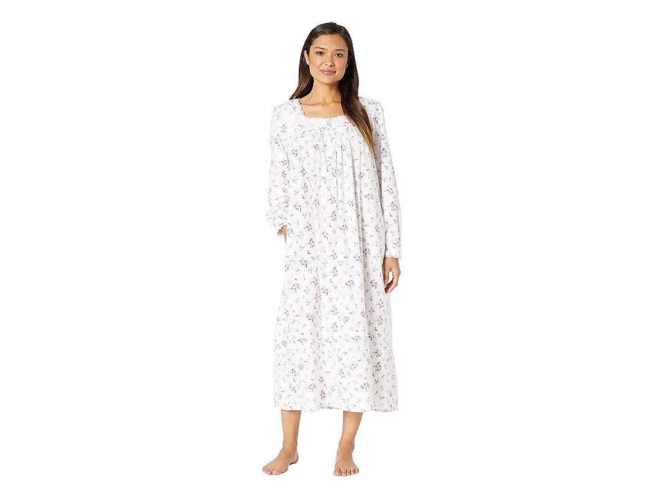 Eileen West Flannel Ballet Nightgown (White Rose Multi) Women