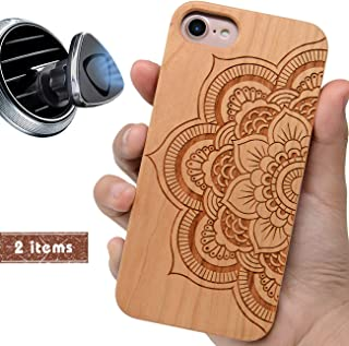 iProductsUS Wood Phone Case Compatible with iPhone 8 Plus, 7 Plus, 6S Plus, 6 Plus and Magnetic Mount, Engraved Mandala Sunflower, Built-in Metal Plate, TPU Rubber Protective Cover (5.5 inch)