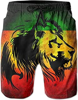 Jist Zovi Jamaican Lion Flag Men's Summer Surf Swim Trunks Beach Shorts Pants Quick Dry with Mesh Lining and Pockets White
