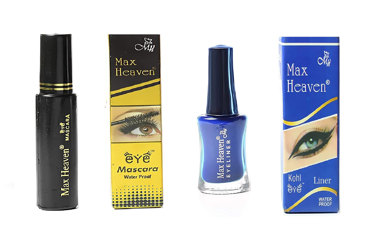 BALANI Max Heaven Eye Makeup Combo Set with [ 1 , Mascara Black ] + [ 1 , Eye Liner Blue ] with Free ADS Eye Care Clossal Waterproof Kajal Pencil- [ Budget Pack of 3 Items ]
