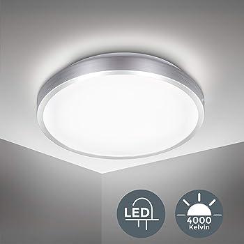 Plafoniera LED, luce bianca naturale 4000K, 1500Lm, LED integrati 15W, diametro 29cm, lampada da soffitto moderna per cucina, salotto o camera da letto, plastica, IP20, 230V